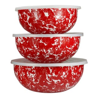 Mixing Bowls Red Swirl - Set of 3 For Sale
