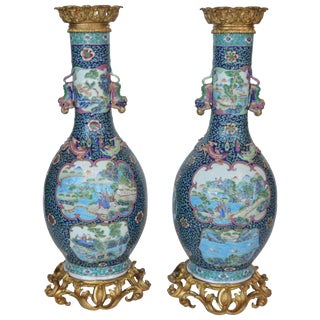 Pair of Antique Famille Rose Vases For Sale