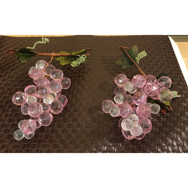 Green Pink & White Faceted Lucite Grapes - A Pair For Sale - Image 8 of 8