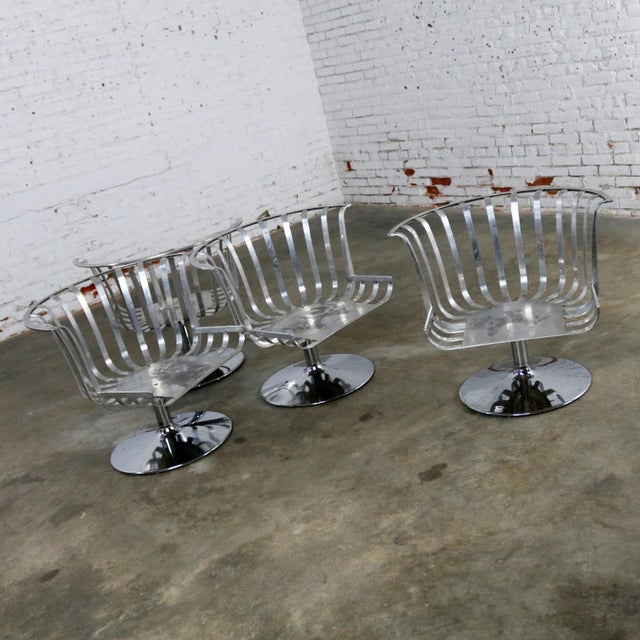 Polished Aluminum Tulip Shaped Swivel Lounge Chairs by Russell Woodard - Set of 4 For Sale - Image 5 of 11