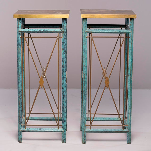 Neoclassical Style Verde Green Metal Statue Stands - a Pair For Sale - Image 12 of 13