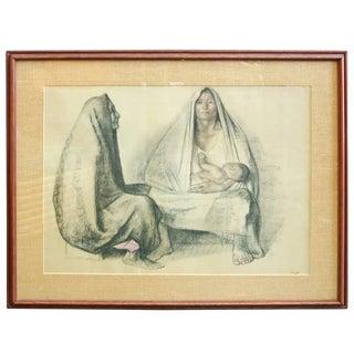 """Francisco Zuniga """"Dos Mujeres Sentadas"""" Signed"""