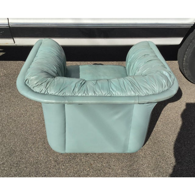 Leather 1980s Contemporary Light Blue Leather Hickory Nc Club Chair For Sale - Image 7 of 13
