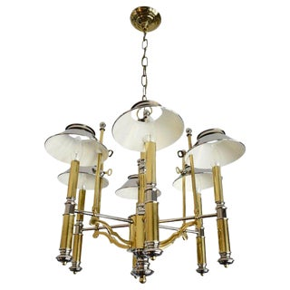 1980s Bouillotte Nickel and Brass Chandelier by Lightolier For Sale