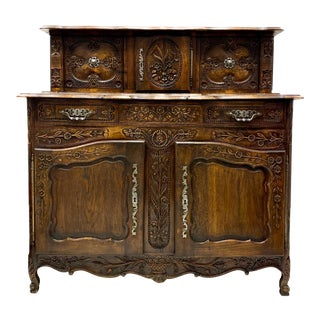 19th-C. French Louis XV Style Oak Cabinet For Sale