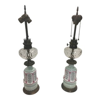 Pair of Leopold Foss French Victorian Lamps For Sale