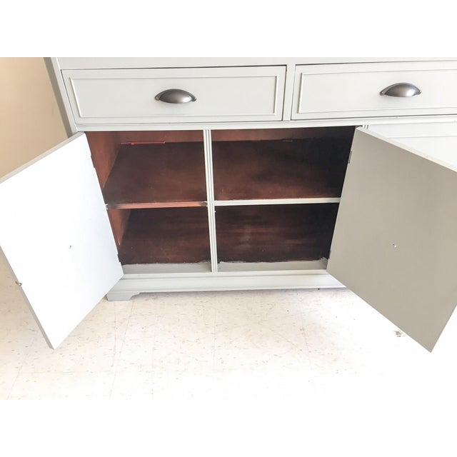 White Grey Painted Server With Granite Top For Sale - Image 8 of 11