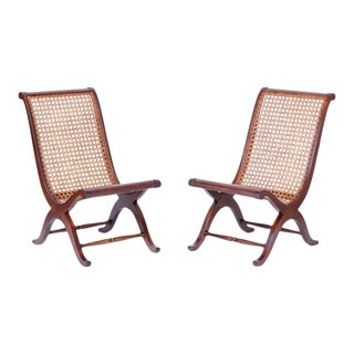 British Colonial Style Caned Campeche Chairs - A Pair For Sale