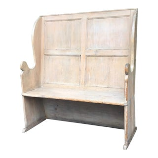 19th Century Americana Wood High Back Settle Bench