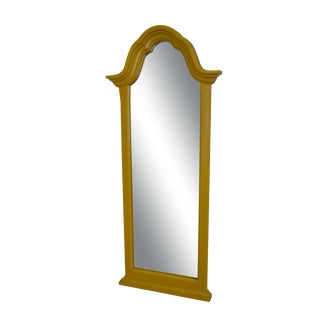 Vintage Yellow Painted Narrow Wall Mirror For Sale