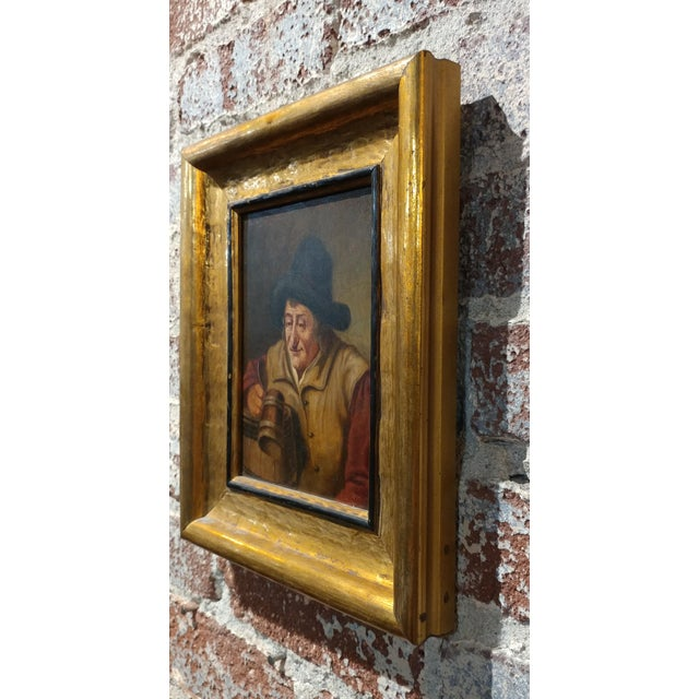 19th Century Dutch Stein Drinker Oil Painting - Image 8 of 8