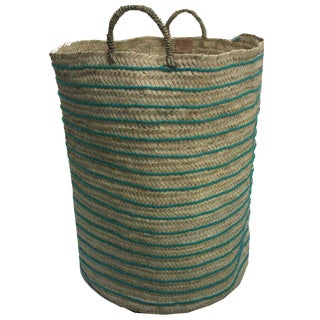 Moroccan Turquoise Straw Hamper For Sale