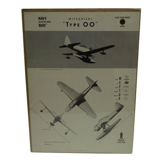 """Vintage WWII Aircraft """"Mitsubishi Type 00"""" Recognition Poster"""