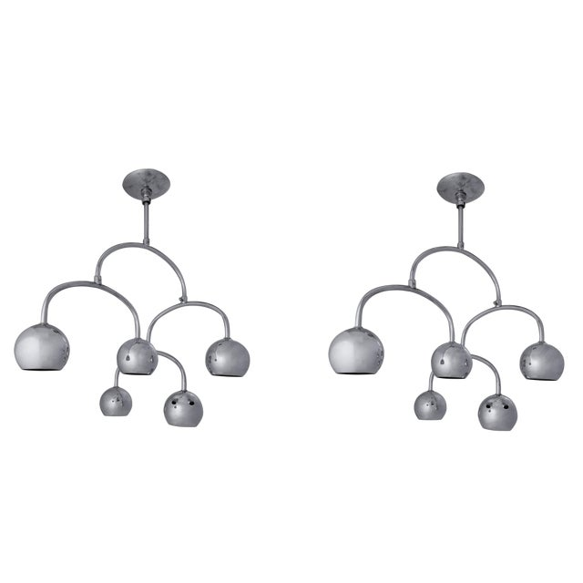 Chrome Ceiling Light - a Pair - Image 1 of 7