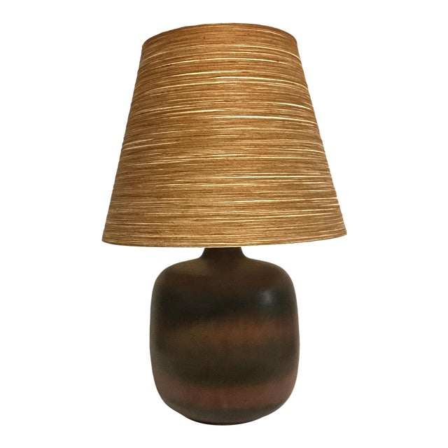 Lotte & Gunnar Bostlund Ceramic Lamp With Original Shade For Sale