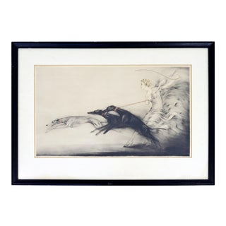 Antique Art Deco Framed Etching of a Woman & Greyhounds Signed Louis Icart 1927 For Sale