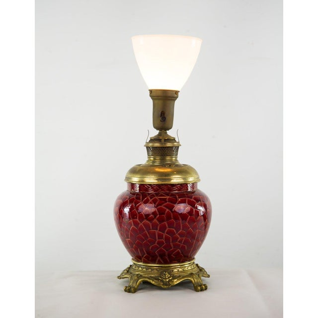 19th C. Victorian Style Bradley & Hubbard Converted Oil Lamp For Sale - Image 12 of 12