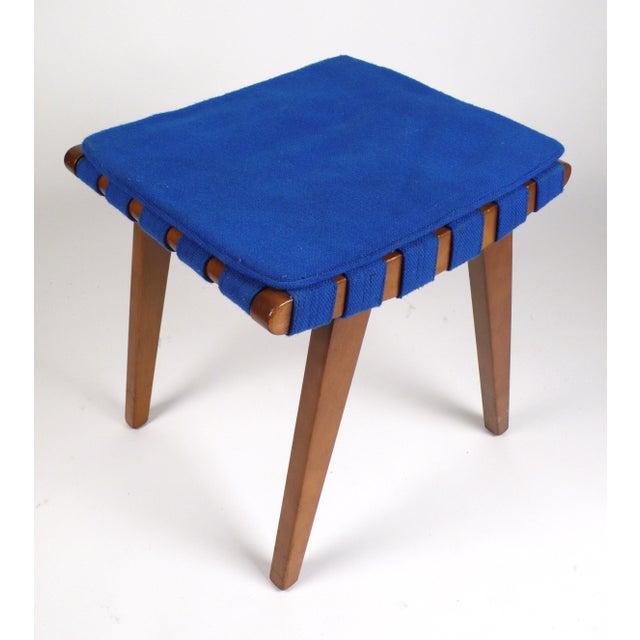 Early Jens Risom stool produced by Knoll Associates. Bright blue webbing.