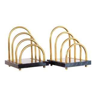 Vintage Brass Arch & Black Marble Bookends - a Pair For Sale