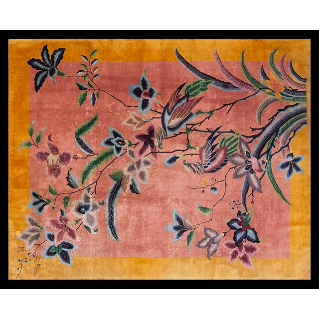 "Textile 1920s Chinese Art Deco Rug - 8'9""x11'6"" For Sale - Image 7 of 7"