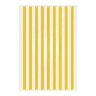 Yellow & White Striped Rug - 4' X 6'