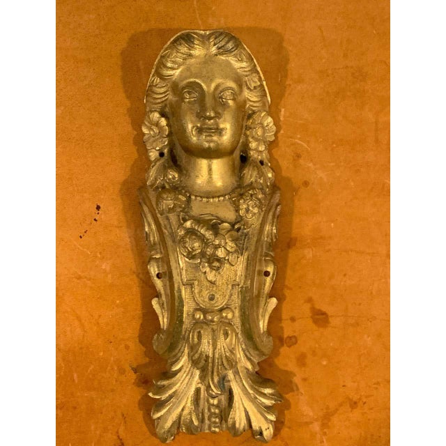Napoleon III Gilt Bronze Female Medallion Furniture Mounts - a Pair For Sale - Image 9 of 10