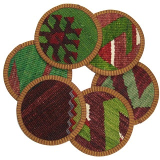 Rug & Relic Mercan Kilim Coasters - Set of 6 For Sale