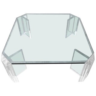 Thick Lucite Mid Century Coffee Table by Charles Hollis Jones For Sale