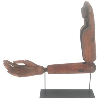Antique Articulated Wood Artist's Hand and Arm Model For Sale