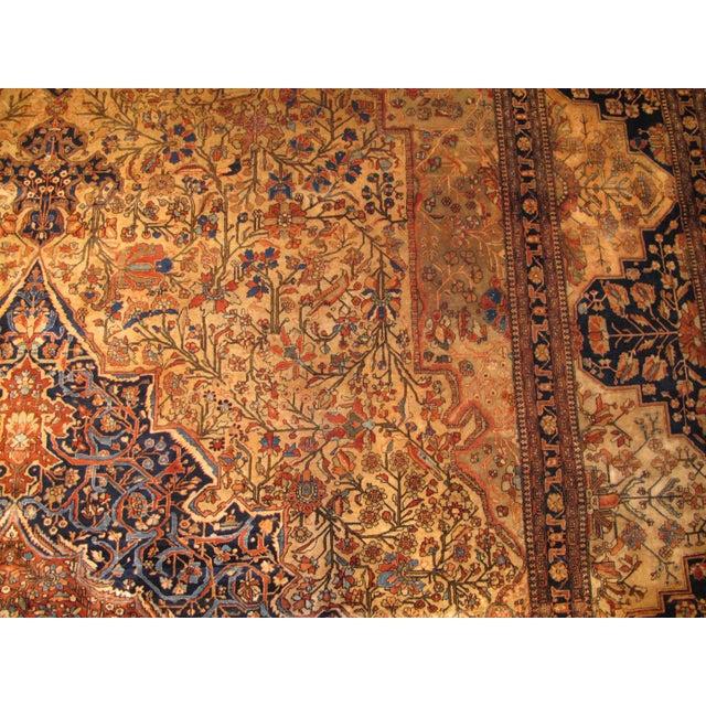 Blue Exquisite Antique Oversize Mohtashem Kashan Carpet For Sale - Image 8 of 9