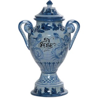 Italian Hand Painted Sy Rose Ceramic Urn For Sale