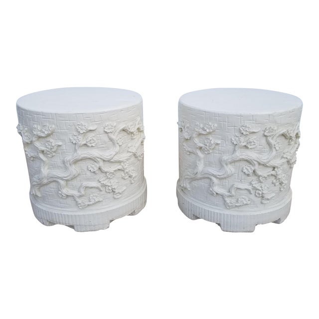 1970s Hollywood Regency Cherry Blossom Design Cement Side Tables - a Pair For Sale