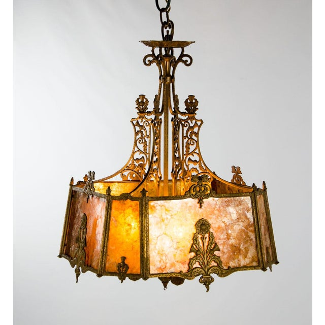 Victorian Victorian Style Mica 4 Light Chandelier For Sale - Image 3 of 13