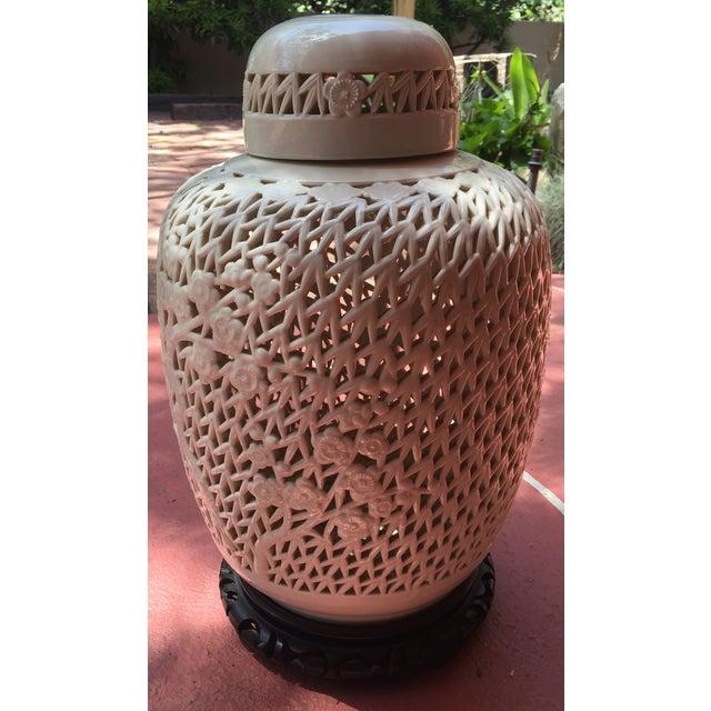 White Porcelain Pierced Design Ginger Jar - Image 5 of 6