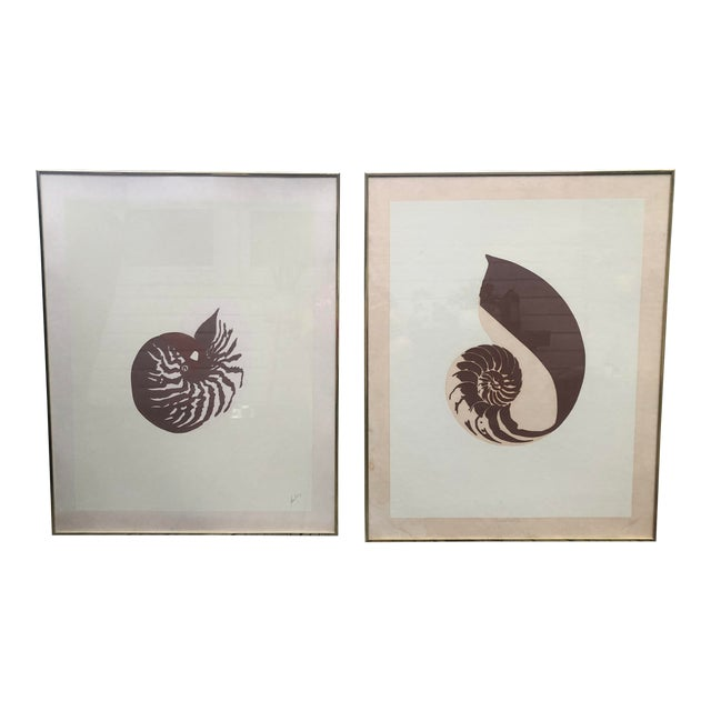 Vintage Van Guard Studio Nautilus Shell Lithographs - a Pair For Sale