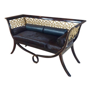 1970s Regency Laquered & Parcel Gilt Canape Settee w/ Hide Upholstery For Sale