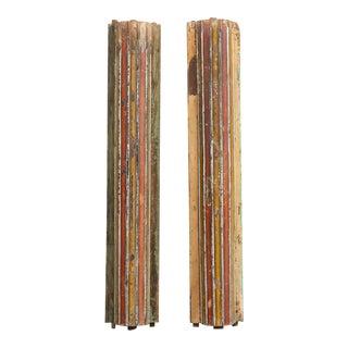Antique Set of Two Corinthian Painted Indian Half Columns For Sale