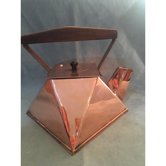 This is an extremely rare copper kettle with lid made in the early 20th century probably in Europe. Cubist in design yet...