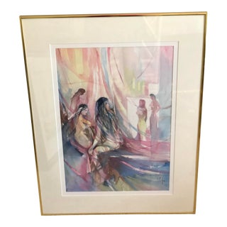Original Mid-Century Modern Abstract Watercolor Painting Signed by Robert Carter For Sale