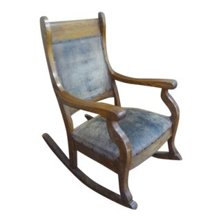 Early 1900's Leather & Oak Rocking Chair For Sale