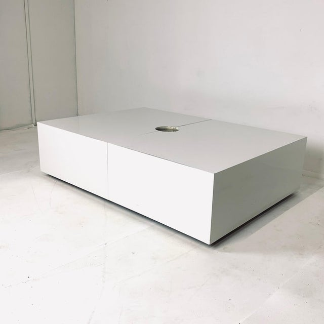White Op-Art Pop White & Stainless Convertible Storage Bar / Coffee Table For Sale - Image 8 of 11