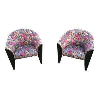 1990s Vintage Dakota Jackson Post Modern Club Chairs- A Pair For Sale
