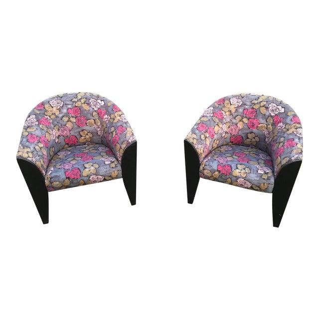 1990s Vintage Dakota Jackson Post Modern Club Chairs- A Pair For Sale