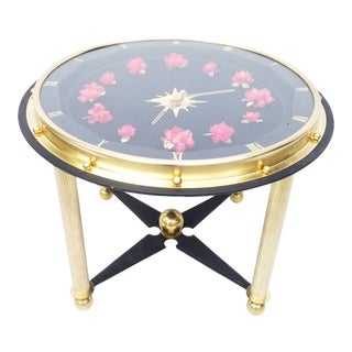 1950s Jacques Adnet Style Side Clock Table For Sale