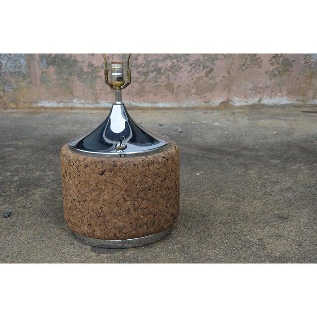Metal 1960s Vintage Laurel Mid-Century Modern Cork & Chrome Table Lamp For Sale - Image 7 of 9