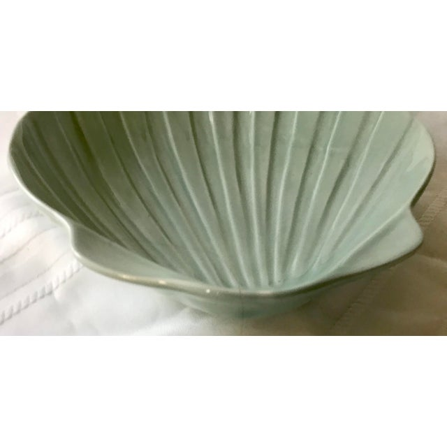 Coastal 1960s A. Santos. PortugalSage Green Shell Pottery Dish For Sale - Image 3 of 5
