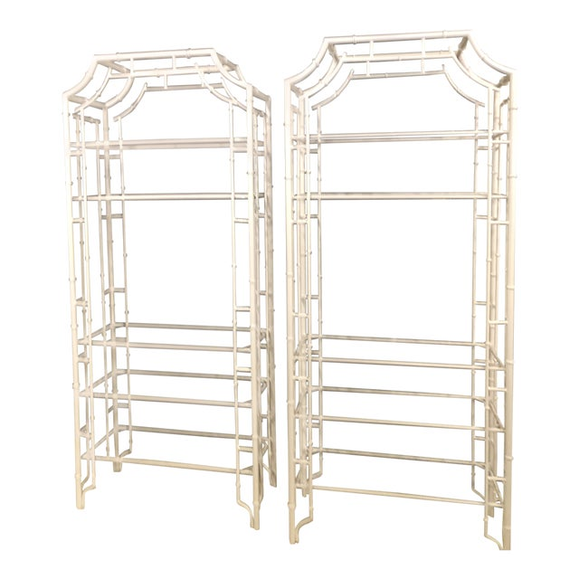 Vintage Chinese Chippendale Newly White Powder-Coated Faux Bamboo Pagoda Metal Shelves Etageres -A Pair For Sale