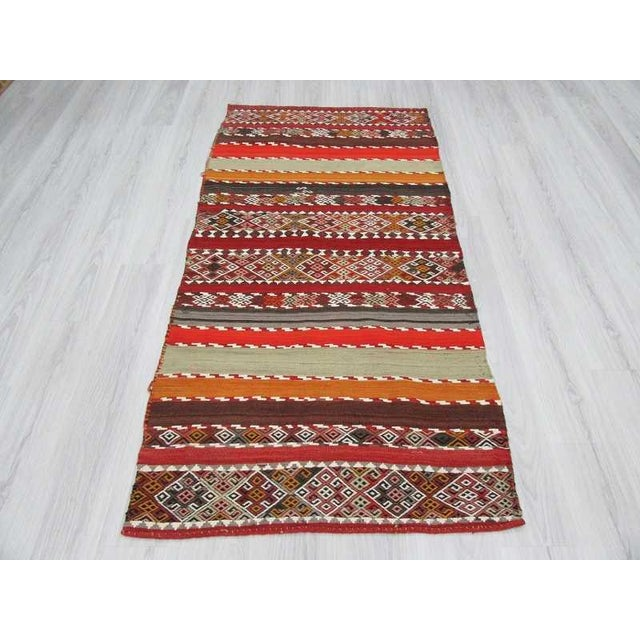 Islamic Antique Turkish Kilim Striped Embroidered Rug - 3′4″ × 6′9″ For Sale - Image 3 of 6