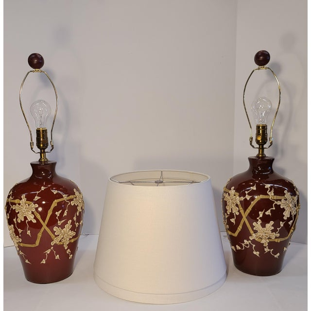1960s Moriage Bamboo Lamps With Linen Shades- a Pair For Sale - Image 4 of 13
