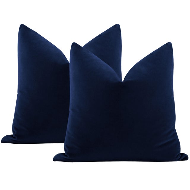 "Not Yet Made - Made To Order 22"" Sapphire Italian Velvet Pillows - a Pair For Sale - Image 5 of 5"
